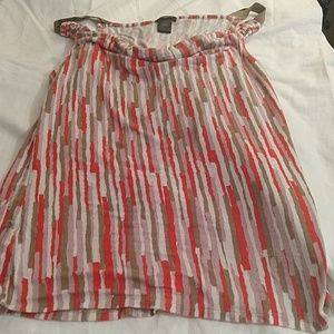 Ann Taylor top with red green white pink pattern